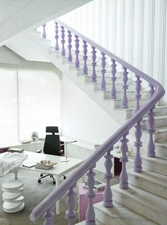 Office & Workspace:Lovely Light Purple Stair Handler On White Marble Tile Floor And Black Swivel Arm Chairs With White Word Desk Table And White Chair On Light Brown Carpet With Pink Folding Cabinets And Glass Windows Virtuosity Henrique Steyer: Fantastic Contemporary Workspace designs