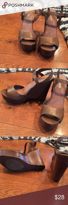 Aldo platform wedge sandals. #9 Chestnut brown leather platforms. Good used condition. Aldo Shoes Platforms