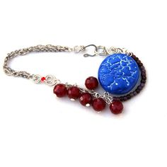 Bright Blue and Ruby Red Polymer Clay Bracelet by Sadafulee ($20) ❤ liked on Polyvore