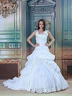 Cap Sleeved Beading and Flower Detailed Taffeta Princess Wedding Dress - USD $278.99