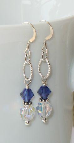 www.BestBuyBeads.com - Swarovski Dark Sapphire and Crystal AB. So pretty!