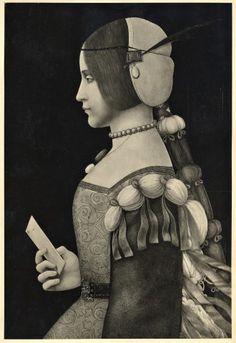 Anonimo , Conti Bernardino de' - sec. XV/ XVI - Ritratto di giovane donna di profilo - insieme