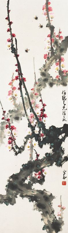 Zhao Shao'ang	(b. 1905~1998) PLUM BLOSSOMS AND BEES Mounted for framing; ink and colour on paper  105 x 30 cm. 41 3/8 x 11 3/4 in. 趙少昂	(b. 1905~1998) 梅花蜜蜂 鏡心 設色紙本  105 x 30 cm. 41 3/8 x 11 3/4 in. 約2.8平尺  鈐印:少昂_ 題識:伯聰吾兄指教,少昂。