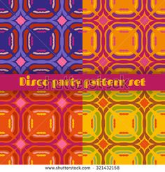 Retro seamless patterns set. 70's fashion style inspired. Bright and groovy vector illustrations set for disco theme events, textile, wrapping.  Sorted in layers.
