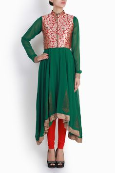 Buy Niharika Pandey Red Green Jacket Styled Anarkali online in India. Handpicked collection of designer wear from boutiques at VioletStreet.com. Free Shipping. COD.
