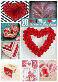 Valentine's Day just lends itself to creative and fun home decor! I love these great ideas … 20 Red and White Valentine's Day Ideas! Read on and get inspired! Repurposed Intertwined Heart @ Remodelando La Casa Paper Heart Wreath @ Blooming Homestead Valentine's Day Doily Banner @ My Daylights Valentine's Candy Wrapper Free Printable @