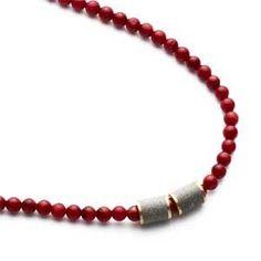 "#Hanukkah Selection: Hadas Shaham coral and concrete necklace, 17"" | $195"