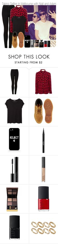 """Taking Selfies in Melbourne w/ Niall and Adam"" by elise-22 ❤ liked on Polyvore featuring Topshop, Pull&Bear, Acne Studios, Timberland, Samsung, Stila, Giorgio Armani, NARS Cosmetics, Tom Ford and ASOS"