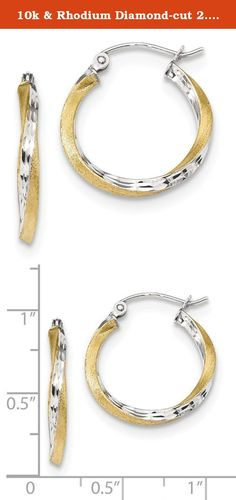 10k & Rhodium Diamond-cut 2.5mm Twisted Hoop Earrings. Product Description Material: Primary - Purity:10K Finish:Polished Length of Item:21.16 mm Plating:Rhodium Material: Primary:Gold Thickness:2.5 mm Width of Item:19.81 mm Product Type:Jewelry Jewelry Type:Earrings Sold By Unit:Pair Texture:Diamond-cut Material: Primary - Color:Two-Tone Earring Closure:Hinged Earring Type:Hoop Plating Color:Silver Tone.