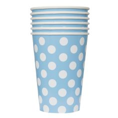 Light Blue Polka Dot 12 oz Hot/Cold Cups (6 ct)