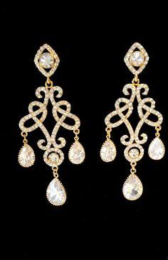 Gold chandelier earrings  Long  Brides by QueenMeJewelryLLC