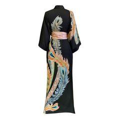 Peacock Feather Kimono Robe (black)