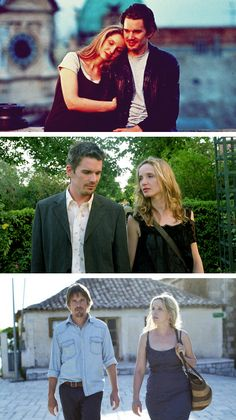 Ethan Hawke and Julie Delpy as Jesse and Celine in Before Sunrise (from the top), Before Sunset and Before Midnight. Before Sunrise Trilogy, Before Sunrise Movie, Before Trilogy, Alfred Hitchcock, Before Sunset Quotes, Love Movie, Movie Tv, Julie Delpy, Movie Shots