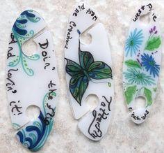 tatting shuttles I made from shrink plastic