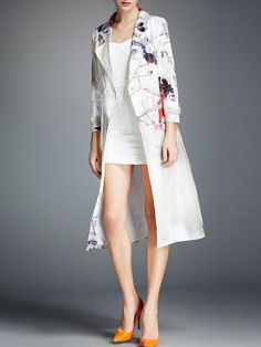 OULIE Printed Silk Linen Duster Coat