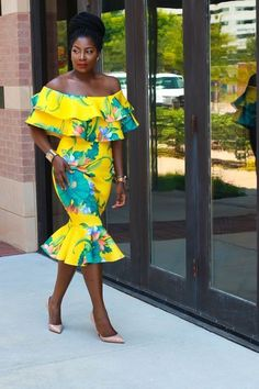 Yellow Off Shoulder Frills - Irony of Ashi African Print Dresses, African Fashion Dresses, African Dress, Ghanaian Fashion, African Prints, African Print Fashion, Africa Fashion, Fashion Prints, Fashion Design