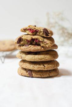 chocOlate raspberry matcha cookies