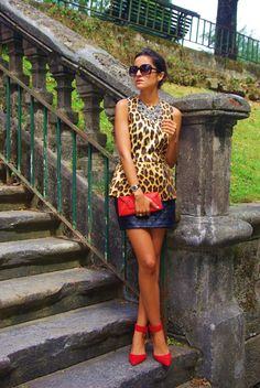 leopard + black leather + red