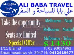 Ali Baba Travel: Melbourne - Najaf, Melbourne - Mashad, Melbourne -...