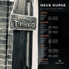 New Courses Starting September 2019 - Oliver & Lin - Tango Tango, Switzerland, September, News