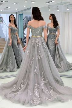 2f1e4c9822 Beautiful Prom Dresses Sheath Off-the-shoulder Appliques Grey Long Prom  Dress