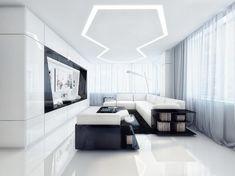 Entertainment room Unique Black and White Apartment Interior Design Apartment Interior Design, Interior Exterior, Living Room Interior, Modern Exterior, Floor Design, House Design, Life Design, Interior Design Pictures, Futuristic Interior