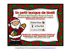 French Christmas Words - Word Wall, Colouring & Labelling Posters and Word Searches...