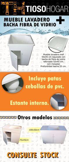 Mueble Lavadero Mdf + Pileta 52 45 Cm Fibra + Fregadero 50  $ 1180