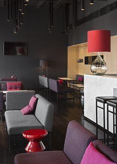 russia 2014 - azimut st. petersburg - 18th. floor - bar - sky bar - carrara marble - wood panel - lounge - sofa - armchair - floorboard - wood panel - poof - lounge corner - lamp - dark - black - holz - holzverkleidung - sessel - lampe - schwarz