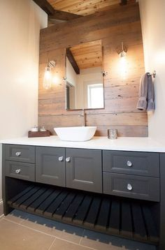 Gray Bathroom Vanity - reclaimed wood accent wall -Country - bathroom - Lucy and. - Gray Bathroom Vanity – reclaimed wood accent wall -Country – bathroom – Lucy and Company - Reclaimed Wood Bathroom Vanity, Reclaimed Wood Accent Wall, Grey Bathroom Vanity, Bathroom Accents, Grey Bathrooms, Bathroom Renos, Bathroom Colors, Master Bathroom, Wall Wood