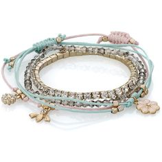 Accessorize Bloom Friendship Bracelet Pack ($16) ❤ liked on Polyvore featuring jewelry, bracelets, accessories, beads jewellery, sparkle jewelry, beaded bangles, flower jewelry and beaded jewelry
