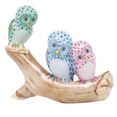 "Herend Hand Painted Porcelain Figurine ""Owls On Branch"" Green Blue Raspberry Fishnet Gold Accents."