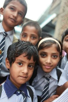 Group of students study at a private primary school in Muzaffarpur, India.