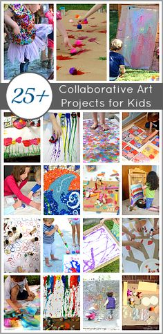 Collaborative Art Projects for Kids (Perfect for the classroom, playdates, and to do together as a family!) Many art activities that allow students to express their artistic side. Collaborative Art Projects For Kids, Group Art Projects, Auction Projects, Arts And Crafts Projects, Kids Crafts, Kindergarten Art, Preschool Art, Art Activities For Kids, Art For Kids
