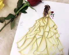 Princess and the Rose (Fashion Illustration Print) (Fashion Illustration Art - Fashion Sketch prints - Home Decor) By Melsy's Illustration's Disney Drawings Sketches, Cute Disney Drawings, Girl Drawing Sketches, Disney Princess Drawings, Disney Princess Art, Cool Art Drawings, Drawings Of Princesses, Belle Drawing, Drawing Disney