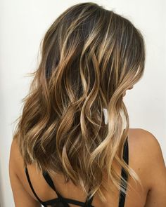 Brunette+Layered+Hair+with+Blonde+Balayage