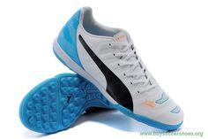 TF PUMA evoSPEED 1.3 XR White/Black/BLUE Mens Youth Soccer Cleats