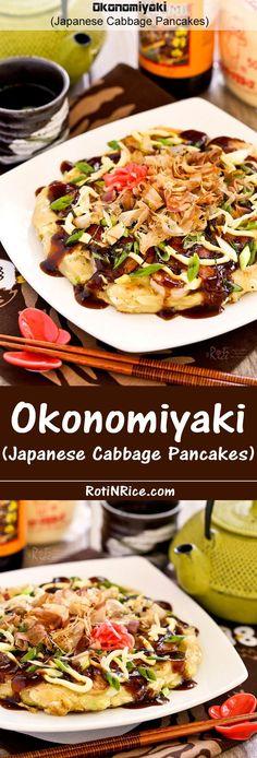 Okonomiyaki, savory Japanese Cabbage Pancakes topped with shrimps, bacon, and a variety of sprinkles. Delicious slathered with mayonnaise and okonomiyaki sauce. | http://RotiNRice.com