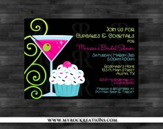 Bridal Shower InvitationCupcakes & Cocktails by rockreations, $13.00