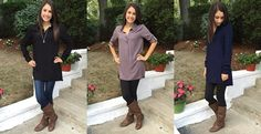 Tab Sleeve Tunic Top- 5 Colors