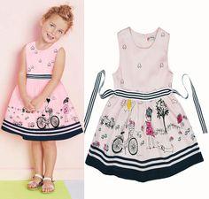 2016 Summer Girl Dress cartoon bicycle pattern Girls Kids Princess dress Brand sleeveless Party Dresses children clothing Girls