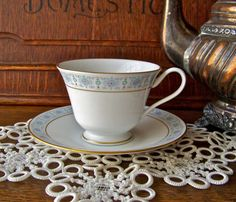 Teacup and Saucer Oxford Bone China by cynthiasattic on Etsy, $24.00