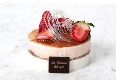 Semifreddo estivo, panna e fragola: Soft strawberry semifreddo with a jam-rich heart, decorated with a sugar cloud. Fresh Cream, Pastries, Cloud, Cheesecake, Strawberry, Sugar, Heart, Sweet, Desserts