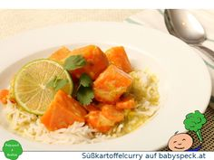 Süßkartoffelcurry mit Karotten (Möhren) und Kokos-Limettensauce, Baby led weaning Rezept für den Familientisch (BLW)