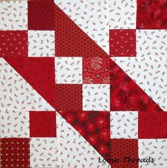 Loose Threads: Antique Red and White Quilt Block Tutorial