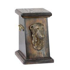 Wooden urn, made of birch with cold cast bronze statue ♥ Cremation Boxes, Dog Cremation, Dachshund, Scottish Deerhound, Brass Handles, Urn, Birch, Your Pet, Woodworking