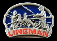TV TELEPHONE CABLE POLE GUY LINEMAN WORKERS ELECTRICIAN TOOL BELT BUCKLE BUCKLES #CoolBuckles #lineman #beltbuckle