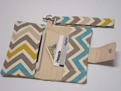 iphone Card Wallet -  iphone 4 - iphone 5 Cell Phone Case  with Detachable Handle - Chevron, Zig Zag Summerland on Etsy, $17.25