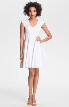 Jessica Simpson Seamed Fit & Flare Dress available at Nordstrom White Party Attire, Professional Dresses, Size 6 Dress, Fit Flare Dress, Nordstrom Dresses, Dresser, Cool Style, White Dress, Dresses For Work
