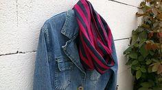 KajDom / Pásikavá šatka Plaid Scarf, Denim, Handmade, Jackets, Fashion, Down Jackets, Moda, Hand Made, Fashion Styles